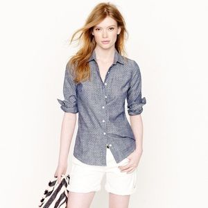 J.Crew Perfect Shirt in Chambray Polka Dot